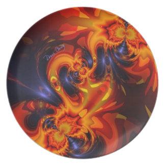 Dance of the Dragons - Indigo & Amber Eyes Dinner Plate
