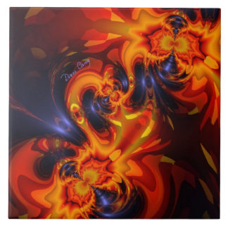 Dance of the Dragons - Indigo & Amber Eyes Tile