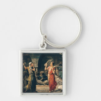 Dance of the Handkerchiefs, 1849 Silver-Colored Square Keychain