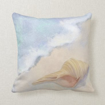 Beach Themed Dance of the Sea Trumpet Shell Beach Ocean Sand Throw Pillow