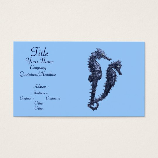 Dance Of The Seahorses (Blue) Business Card