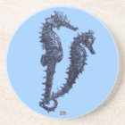 Dance Of The Seahorses (Blue) Drink Coaster