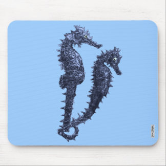 Dance Of The Seahorses Blue Mouse Pads