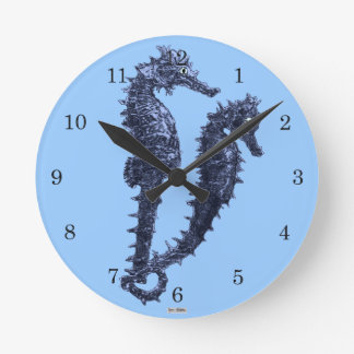 Dance Of The Seahorses (Blue) Round Clock