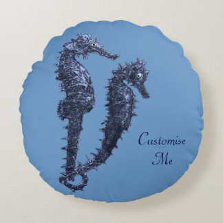 Dance Of The Seahorses (Blue) Round Pillow