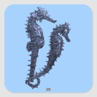 Dance Of The Seahorses (Blue) Square Sticker