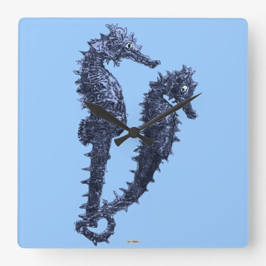 Dance Of The Seahorses (Blue) Square Wall Clock