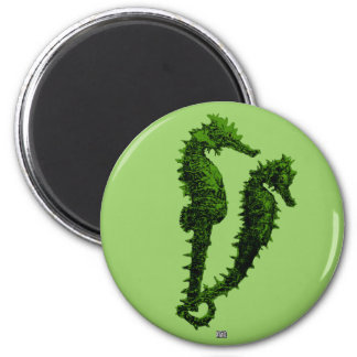 Dance Of The Seahorses (Green) 2 Inch Round Magnet