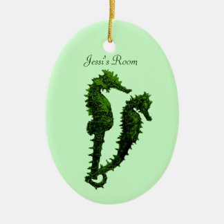 Dance Of The Seahorses Green Door Hanger Christmas Ornament