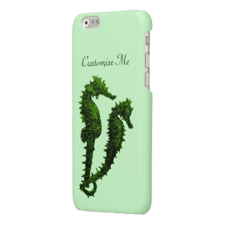 Dance Of The Seahorses (Green) Glossy iPhone 6 Case
