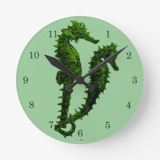 Dance Of The Seahorses (Green) Round Clock