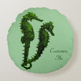 Dance Of The Seahorses (Green) Round Pillow