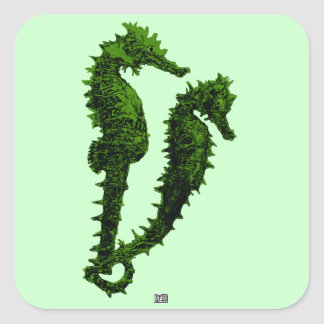 Dance Of The Seahorses (Green) Square Sticker