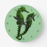 Dance Of The Seahorses (Green) Wall Clocks
