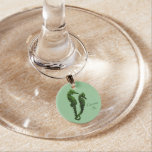 Dance Of The Seahorses (Green) Wine Glass Charms