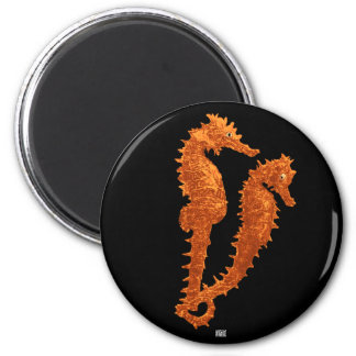 Dance Of The Seahorses (Orange) 2 Inch Round Magnet