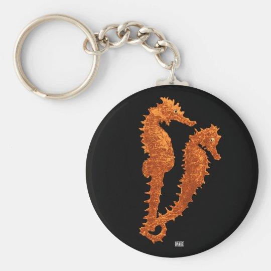 Dance Of The Seahorses (Orange) Keychain