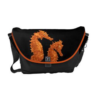 Dance Of The Seahorses (Orange) Messenger Bag