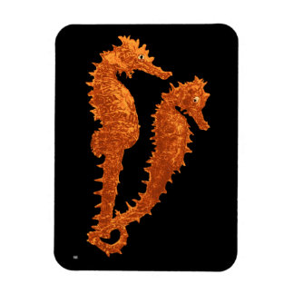 Dance Of The Seahorses (Orange) Rectangular Photo Magnet
