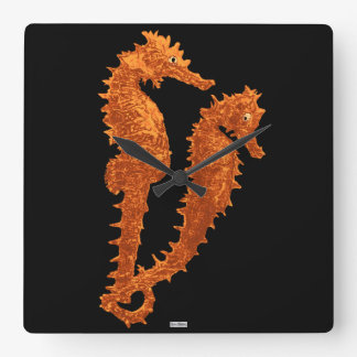 Dance Of The Seahorses (Orange) Square Wall Clock