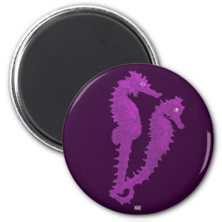 Dance Of The Seahorses (Purple) 2 Inch Round Magnet