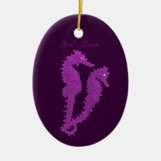 Dance Of The Seahorses Purple Door Hanger Ornament
