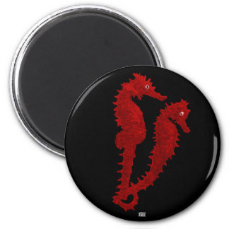 Dance Of The Seahorses (Red) 2 Inch Round Magnet