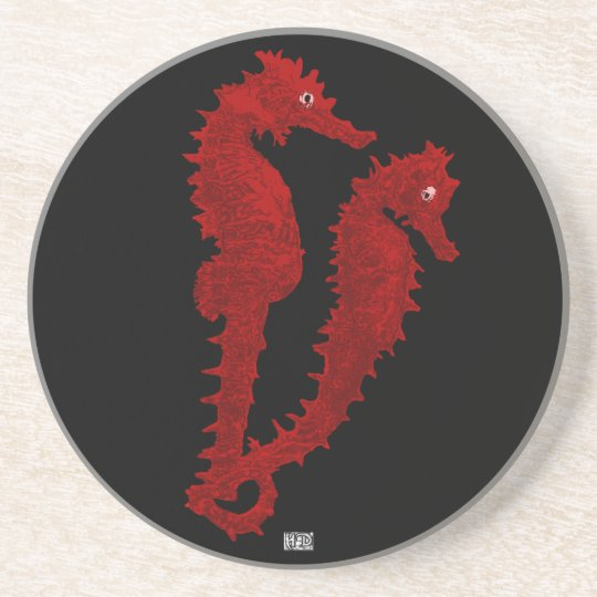 Dance Of The Seahorses (Red) Drink Coaster