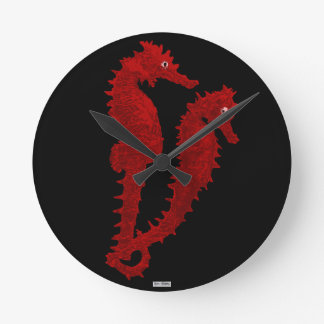 Dance Of The Seahorses (Red) Round Clock