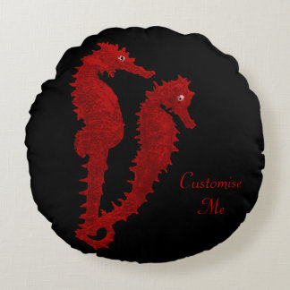 Dance Of The Seahorses (Red) Round Pillow