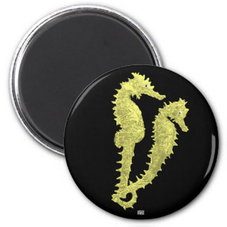 Dance Of The Seahorses (Yellow) 2 Inch Round Magnet