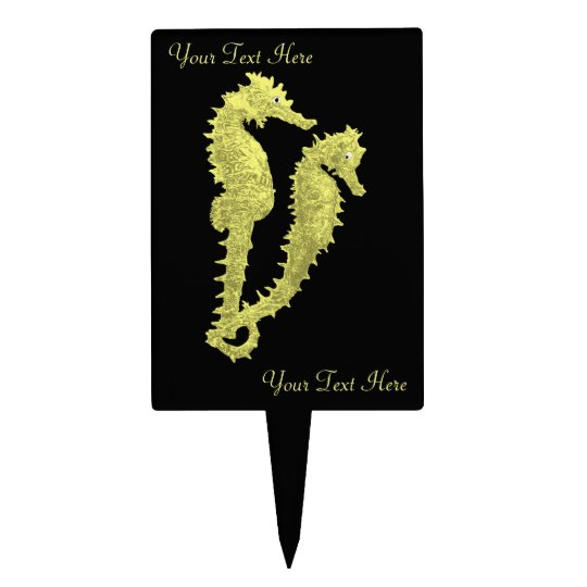Dance Of The Seahorses (Yellow) Cake Topper