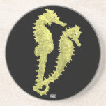 Dance Of The Seahorses (Yellow) Drink Coasters
