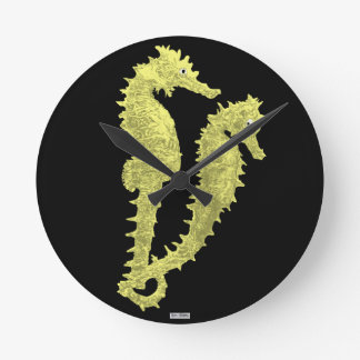 Dance Of The Seahorses (Yellow) Round Clock