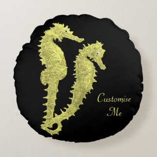 Dance Of The Seahorses (Yellow) Round Pillow