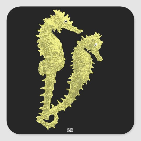 Dance Of The Seahorses (Yellow) Square Sticker
