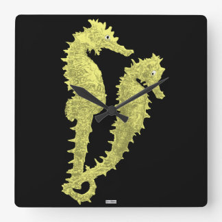 Dance Of The Seahorses (Yellow) Square Wall Clock