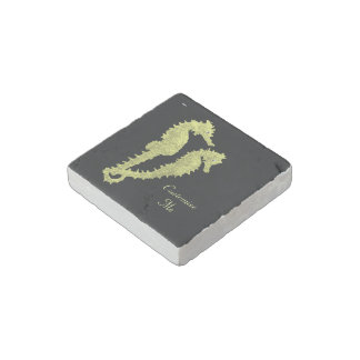 Dance Of The Seahorses (Yellow) Stone Magnet