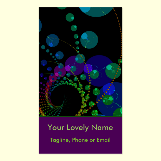 Dance of the Spheres II, Cosmic Violet and Teal Double-Sided Standard Business Cards (Pack Of 100)