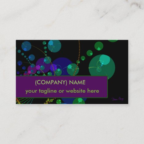 Dance of the Spheres II, Cosmic Violet Green Teal Business Card