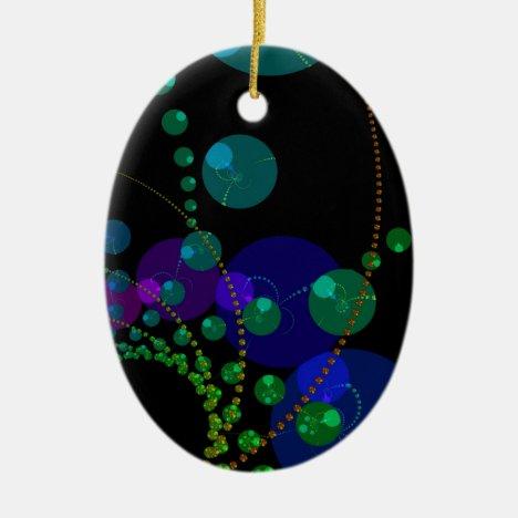 Dance of the Spheres II – Cosmic Violet & Teal Ceramic Ornament