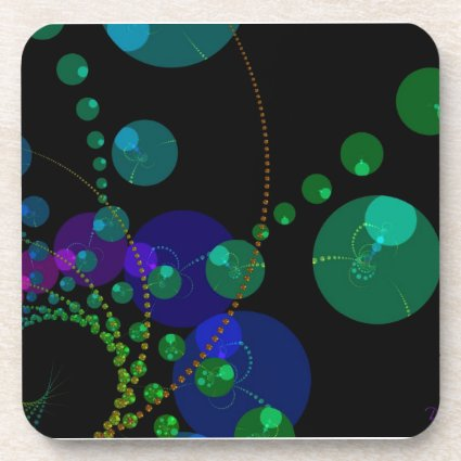 Dance of the Spheres II – Cosmic Violet & Teal Coaster