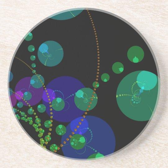 Dance of the Spheres II – Cosmic Violet & Teal Sandstone Coaster