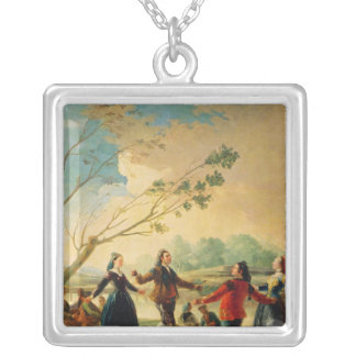 Dance on the Banks of the River Manzanares, 1777 Square Pendant Necklace