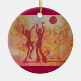 Dance Double-Sided Ceramic Round Christmas Ornament