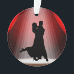 """Dance Ornament - Competition Ballroom Dancing<br><div class=""""desc"""">I hope you'll enjoy this as an ornament for your tree, a year round trinket to hang in your home, a gift for your shag dancing friends ... you name it! I did pay the fees for Extended Licenses for the background, and will offer some variations later. Thank you for...</div>"""