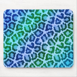 Dance Party Animal Print Blue Leopard Mouse Pad