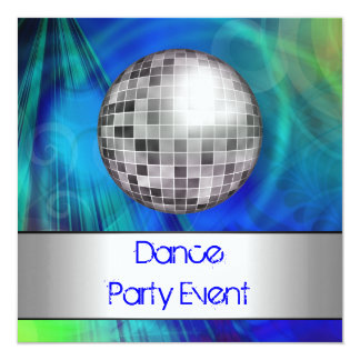 Dance Party Event Blue Green Silver Mirrorball Invitation