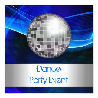 Dance Party Event Blue Silver Mirrorball Card