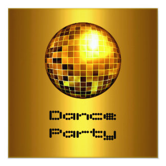 Dance Party Event Gold Mirrorball Invitation
